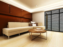 Sofa area of a modern living room. By 3D rendering Royalty Free Stock Images