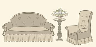 Sofa and arm-chair for vintage interior Royalty Free Stock Image