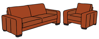 Sofa and armchair. Hand drawing of a red sofa and armchair Royalty Free Stock Images