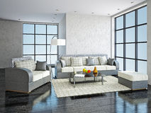Sofa and armchair in the livingroom Stock Image
