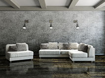 Sofa and armchair. Near the cement wall Royalty Free Stock Photo