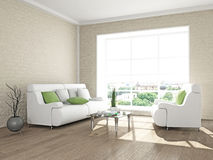Sofa and armchair near the wall Royalty Free Stock Photo