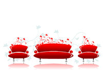 Sofa and armchair red design Royalty Free Stock Photography