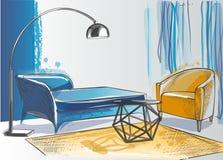Sofa armchair table floor lamp carpet Royalty Free Stock Photography