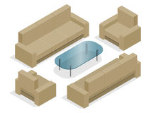 Sofa with armchairs isolated on white. Flat 3d isometric illustration. Royalty Free Stock Photos