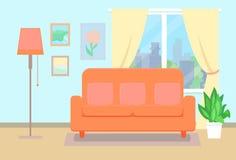 Sofa avec les oreillers et la fenêtre avec des usines illustration libre de droits