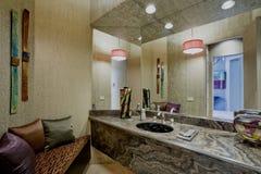 Sofa By Bathroom Mirror Imágenes de archivo libres de regalías