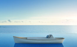 Sofa bed on rowboat with sea view swimming pool in luxury beach hotel Stock Images