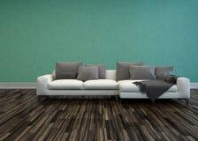 Sofa blanc avec des coussins dans la chambre avec le plancher en bois illustration stock