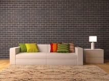 Sofa blanc avec des oreillers de couleur illustration libre de droits