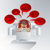 Sofa blanc et ballon rouge Illustration Stock