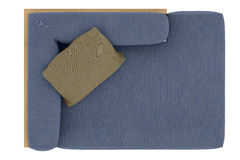 Sofa bleu avec l'oreiller Photo stock