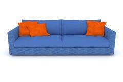 Sofa bleu avec les oreillers oranges Illustration de Vecteur