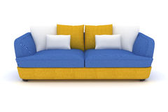 sofa bleu jaune avec les oreillers blancs Photo stock