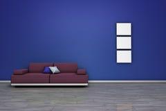Sofa And Blue Empty Wall Stock Photo