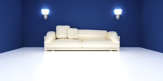 Sofa in a blue room Stock Images