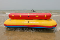 Sofa boat or sofa acqua in Bangsan beach Cha-am Thailand Royalty Free Stock Photography