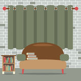 Sofa With Bookcase In Front Of Green Curtain Stock Photography