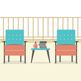 Sofa With Books And Coffee At Balcony Stock Images
