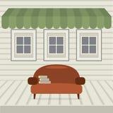 Sofa With Books Under Awning vuoto e Windows illustrazione vettoriale