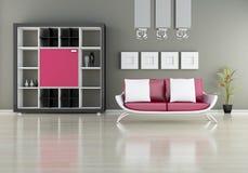 Sofa with bookshelf. Modern interior (3D render) -  Sofa With Bookshelf Stock Photography