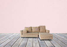 Sofa brown on wooden Stock Image