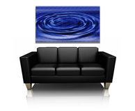 Sofa with canvas art. 3D render of a modern sofa with canvas art of water ripples stock illustration