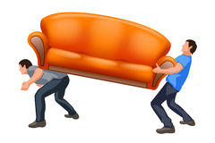 Sofa8 carrying two guys Royalty Free Stock Photo