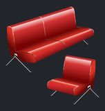 Sofa and chair. Vector red leather sofa and armchair Stock Photos