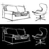 Sofa and chair drawings Stock Image