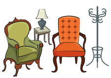 Sofa chairs. And little table with night light Royalty Free Stock Photo
