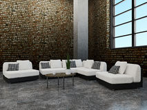 Sofa and chairs. Near the old brick wall Stock Photography