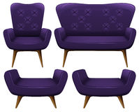 Sofa and chairs in purple Royalty Free Stock Images