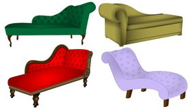 Sofa Chaise Lounge furniture vector. Selection of Chaise Lounge sofa beds antique and modern vector illustrations Royalty Free Stock Photo