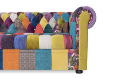 Sofa Chesterfield mit Art ein Patchwork Lizenzfreie Stockfotos