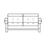 Sofa. Classic cozy couch. Thin line vector sofa. Icon of furniture for an house interior, living room - classic or modern and vintage cozy couch. Vector flat Stock Photos