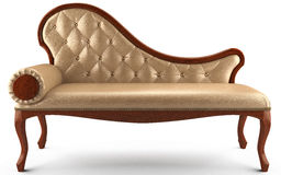 Sofa classic leather beige Stock Photography
