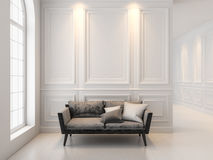 Sofa in classic white interior. 3D render interior mock up. Royalty Free Stock Photo