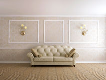 Sofa, classics. Classical sofa at a beige wall with white moldings Stock Images