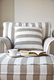 Sofa with coffee and book Home interior lifestyle royalty free stock images