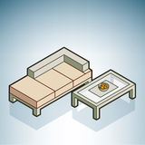 Sofa and Coffee Table. (part of the Modern Furniture Isometric 3D Icons Set Stock Images