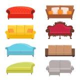 Sofa collection. Bed classic divan modern coach vector interior furniture stock illustration