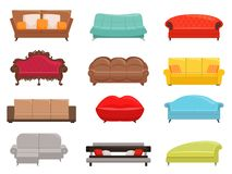 Sofa collection. Comfortable couch and sofa-bed set, interior fashion sofas furniture, house modern canaps vector stock illustration