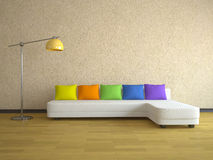 Sofa with color pillows Royalty Free Stock Photography