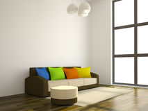 The sofa with the color pillows Royalty Free Stock Photos