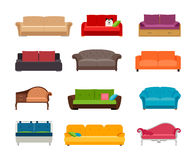 Sofa colored vector set. Comfortable couch collection isolated on white background for interior design Stock Photography
