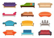 Sofa colored vector set. Comfortable couch collection  on white background for interior design. Collection of. Sofa illustration Stock Image