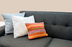 Sofa with colourful pillows. Interior design with couch, sofa with colorful cushions, pillows Royalty Free Stock Photos