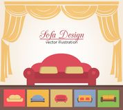 Sofa or couch design poster elements. For brochure advertising vector illustration Stock Image