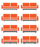 Sofa & Couch Vector in orange color Stock Photo